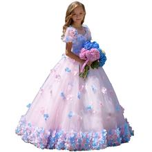Elegant Little Girls Prom Dress Lace Tulle Flower Girl Party Dresses for Weddings First Communion Pink Kids Pageant Ball Gowns