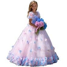 Floral Little Girls Pageant Dress Kids Evening Ball Gowns First Communion Robe Mariage Enfant Fille Wedding Flower Girl Dresses