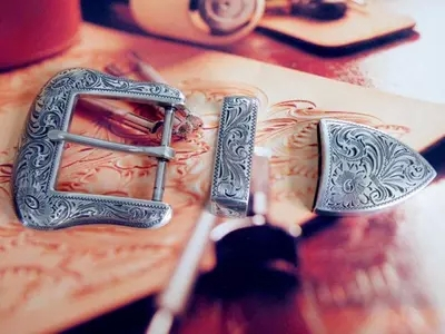 DIY Leathercraft Hardware Amerika Sheridan Karaqusa Style Antique Perak Finish Belt Buckle Set # JT-5467A / B-38