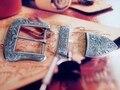 DIY Leathercraft Hardware American Sheridan Karaqusa Style Antique Silver Finish  Belt Buckle Set #JT-5467A/B-38