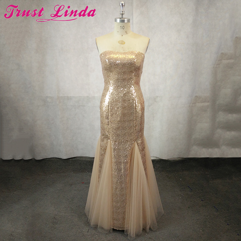 Real Photo Sexy Sweetheart   Bridesmaid     Dresses   Formal   dresses   2018 Champagne Sequined Bridal Formal Party Wear   Dress   Prom Gowns
