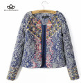 2015 autumn winter vintage ethnic navy blue paisley mix print beaded Sequins details warm jacket coat