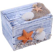 מיני ים עץ פיראט אוצר תכשיטי אחסון חזה קרפט תיבת מקרה ארגונית