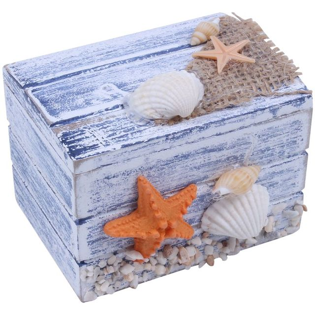 Mini Sea Wooden Pirate Treasure Jewellery Storage Chest Craft Box Case Organiser