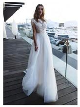 LORIE свадебное платье с открытой спиной, длина до пола, белый, слоновая кость, кружевной топ, свадебное платье со шлейфом, 2019