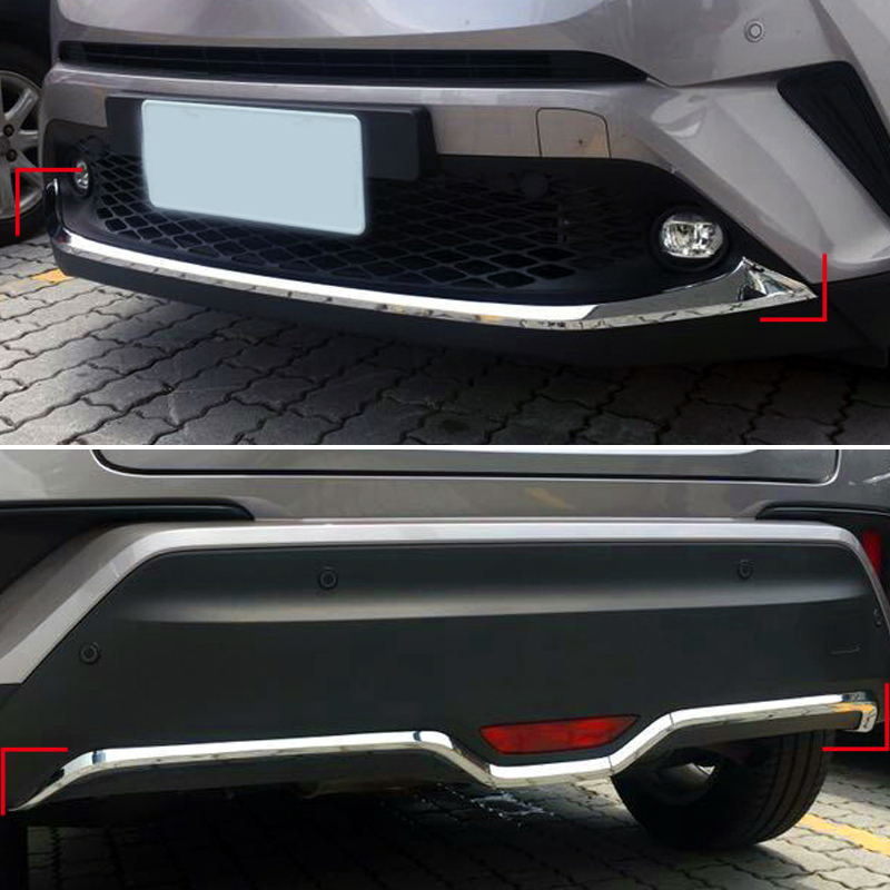 2PCS Car-Styling Accessories Exterior Front & Rear Tail Bottom Bumper Protective  Lid Cover Trim for Toyota C-HR 2016 2017 2018 special car trunk mats for toyota all models corolla camry rav4 auris prius yalis avensis 2014 accessories car styling auto