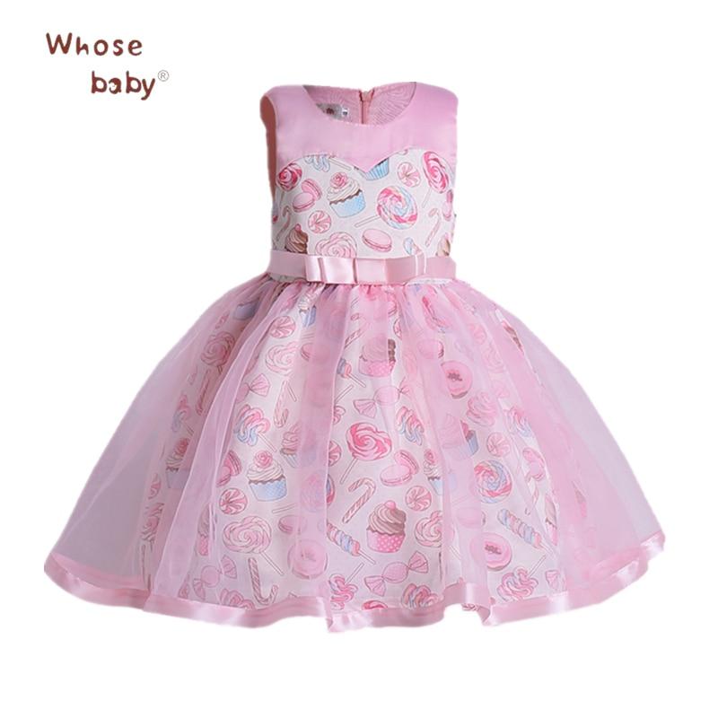 2018 Party Weeding Girls Dresses Printed Flower Princess