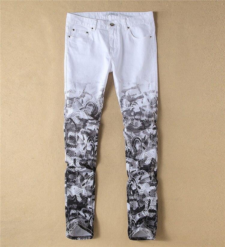 ФОТО   Fashion New   Painting Print Denim Trousers Fashion White Casual Jeans