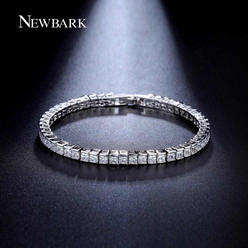 font b NEWBARK b font Classic Square 3mm CZ Diamond Tennis font b Bracelets b
