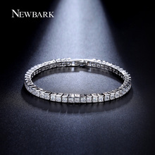 NEWBARK Classic Square 3mm CZ Diamond Tennis Bracelets for Woman White Gold Plated Princess Cut CZ Wedding Jewelry