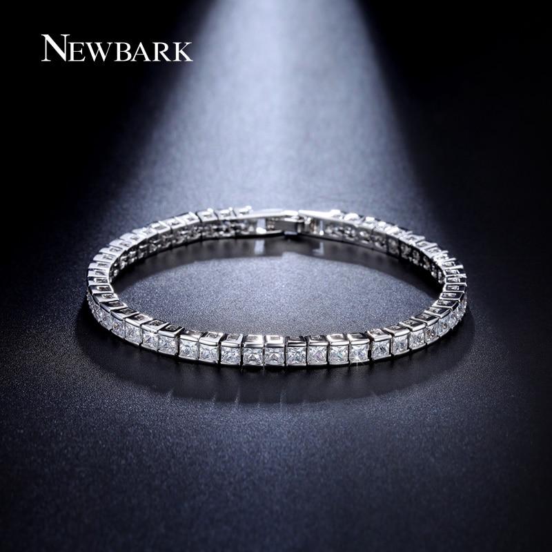NEWBARK Classic Square 3mm CZ Tennis Bracelets for Woman Silver Color Princess Cut CZ Wedding Jewelry cz h37s