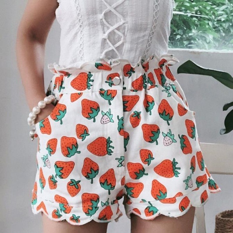 Strawberry Print High Waist Woman Summer   Shorts   2019 Vintage Fashion Loose Girls Petal Denim   Shorts