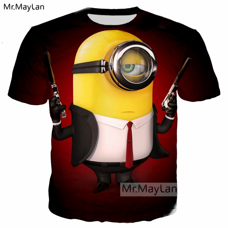 Cartoon Movie Cattivissimo Me Carino Serventi 3D Print Tee T shirt gli uomini/Donne Raffreddano T-Shirt 2018 Estate O collo Tshirt Tees Ragazzi Vestiti