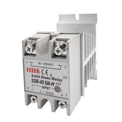Single Phase Solid State Relay SSR-40DA-H 40A 3-32V DC 90-480V AC + heat sink бп atx 350 вт exegate atx xp350