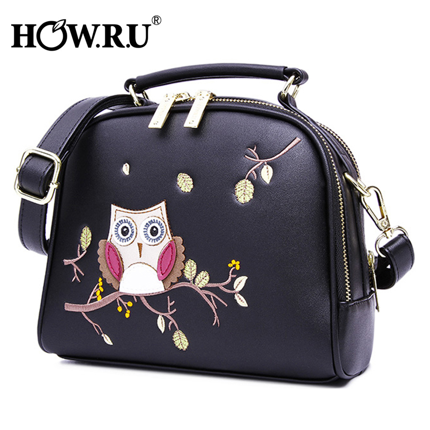 HOW.R.U Luxury Embroidery Owl Handbag Designer Cartoon Woman Bags PU Leather Crossbody Bags for Women Shell Laides Hand Bag 2019-in Top-Handle Bags from Luggage & Bags    2
