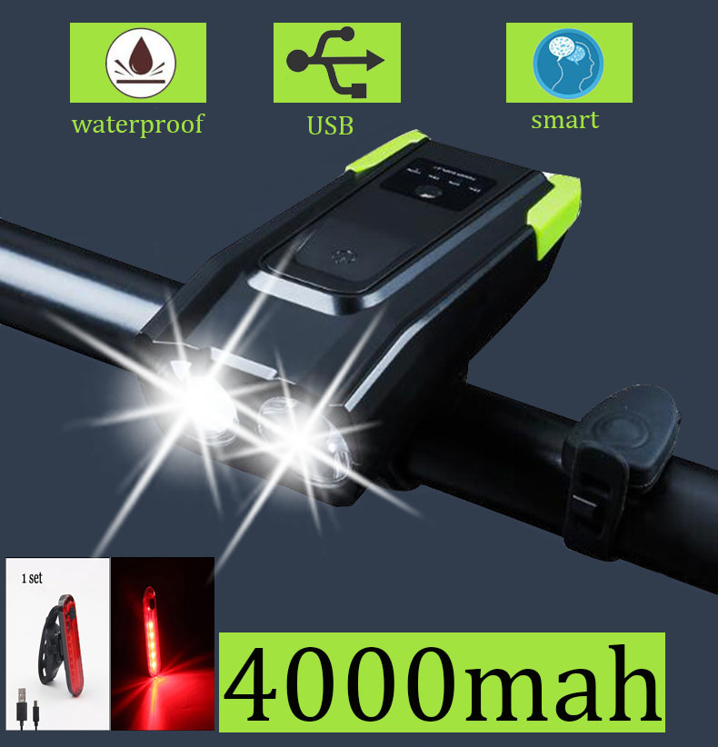 LED <font><b>Bike</b></font> Lamp 4000mAh Bicycle Front <font><b>Light</b></font> <font><b>Set</b></font> <font><b>USB</b></font> Rechargeable Smart Headlight With Horn 800 Lumen Cycle FlashLight <font><b>bike</b></font> <font><b>light</b></font> image