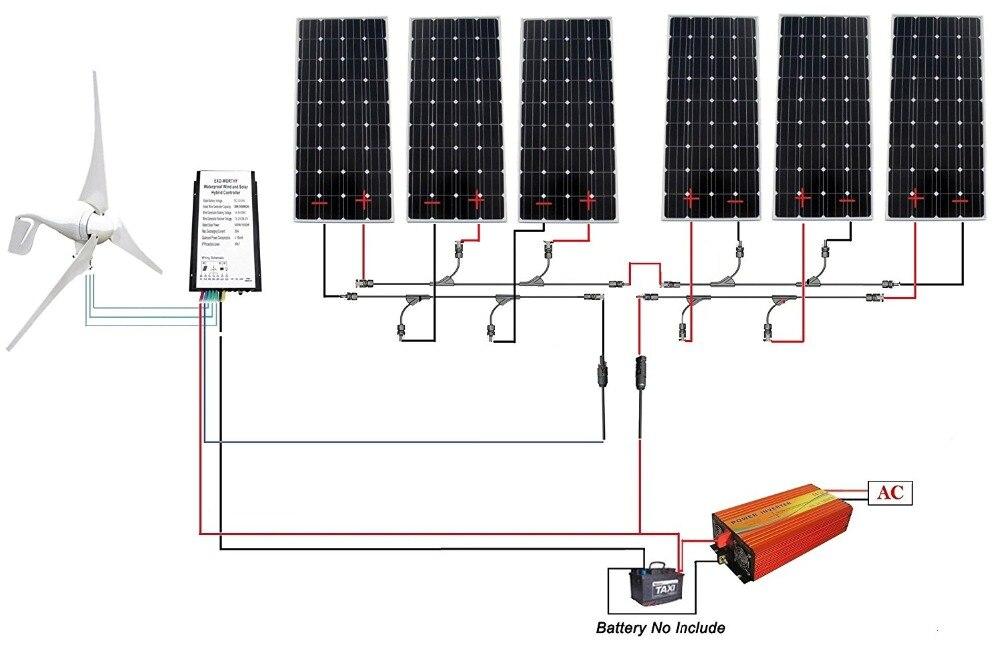 1.3KW kit:400W Wind Turbine Generator & 6*160W Mono Solar Panel & 1500W Inverter панель декоративная awenta pet100 д вентилятора kw сатин