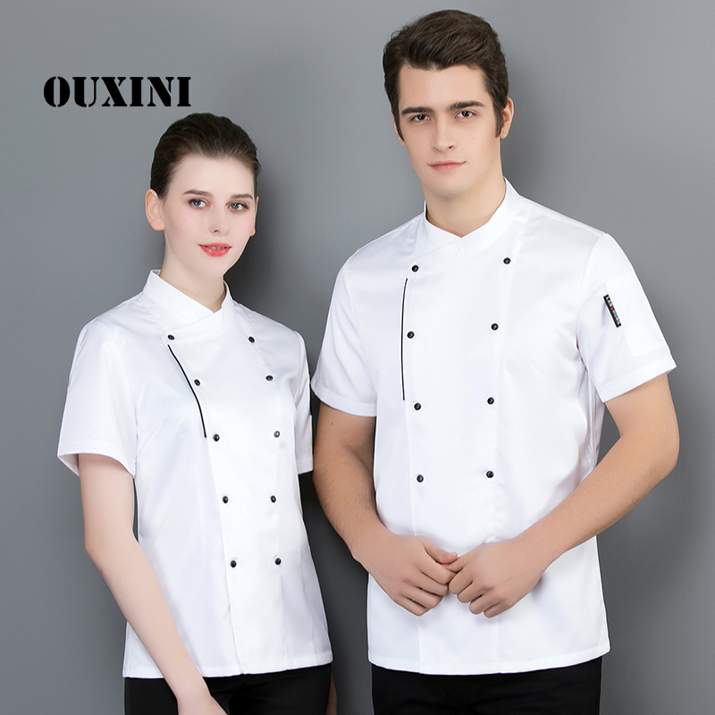 2019 summer chef jacket men and womenkitchen restaurant cook workwear chef uniform multiple colour shirt double breasted
