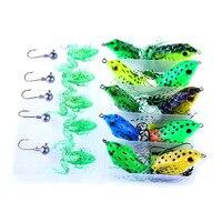 Hot Brand 20Pcs/Set 5g/8g/12g Artificial Life-like Plastic Soft Crankbait Fishing Lure Frog Bass Baits with Metal Lead Head Hook