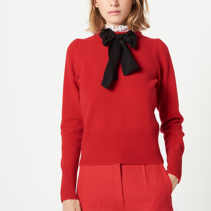 new autumn winter 2018 women fashion Bow sweater with collaret