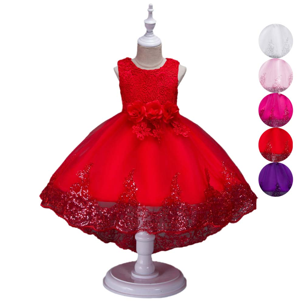 3-10Y Girls Trailing Princess Dress Sleeveless Solid Color Flowers Children Bridesmaid Birthday Wedding Party Dresses BM