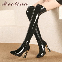 Meotina Autumn Thigh High Boots Women Patent Leather Super Heels Over The Knee Sexy Zipper Long Shoes Female Size 39