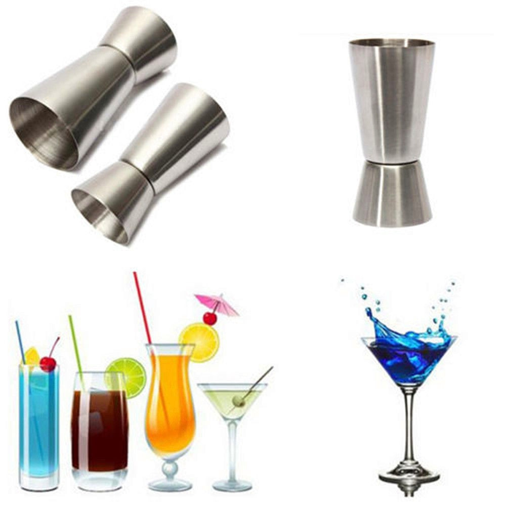 Stainless Steel Bar Wine Cocktail Shaker Jigger Single Double Shot Drink Mixer Wine Pourers Measurer Cup Bar Tools