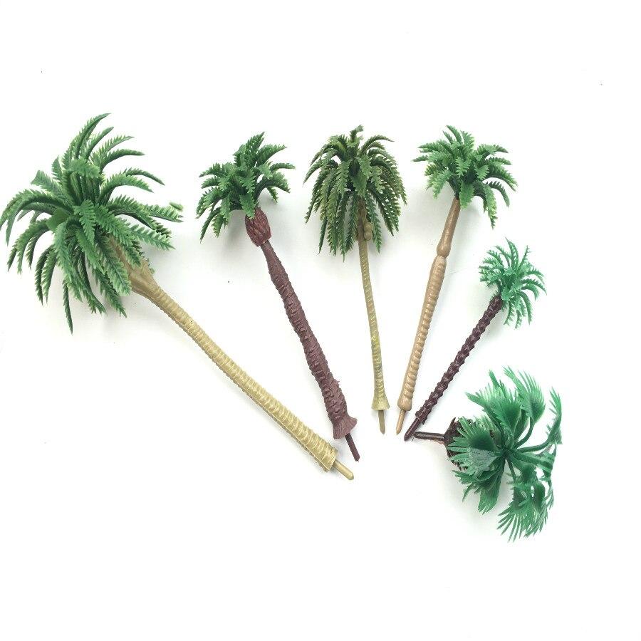 6 pçs artificial em miniatura palmeiras cenário layout modelo de plástico árvore trem coconut rainforest brinquedos para ho train layout