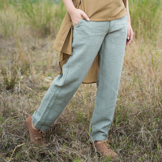 XianRan Antumn Verão Mulheres Calças Compridas Pockets Soltas Calças De Linho Plus Size Calças de Alta Qualidade Frete Grátis