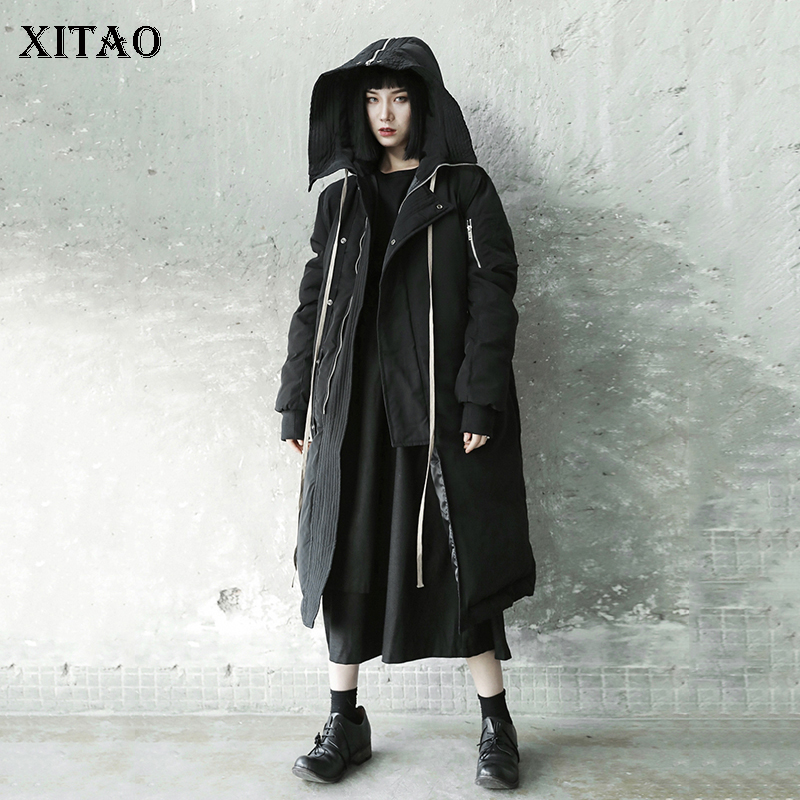 [XITAO] 2018 Winter Korea Fashion New Arrival Women Full Sleeve Long Coat Female Solid Color Thick Casual   Parka   LYH2395
