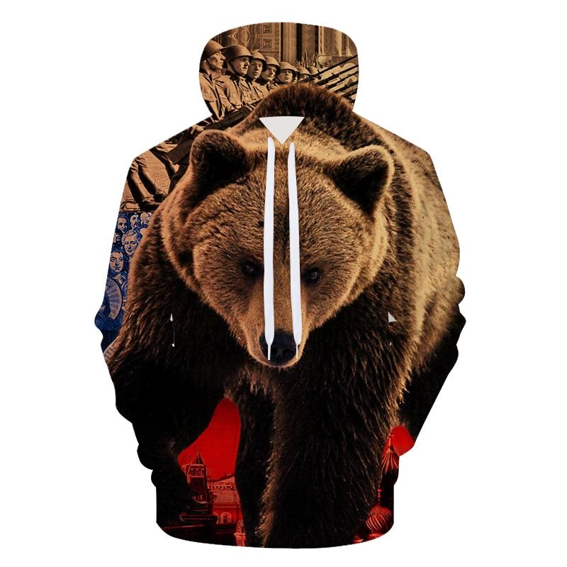 2018 3d Druck Mens Hoodies Und Sweatshirts Männer Mit Kapuze Russische Bär Druck Kleidung Pullover Sudadera Hombre M-3xl