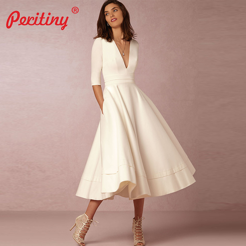 6a15551cf46 Peritiny Vintage Autumn Winter Dress Women 2018 Casual Jurken Elegant Ball Gown  Dress Female Sexy Deep
