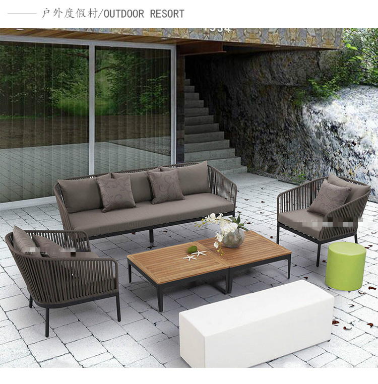 US $1659.0 |New arrival good quality garden furniture wood big sofa set  woven rope sofa for sale-in Garden Chairs from Furniture on AliExpress