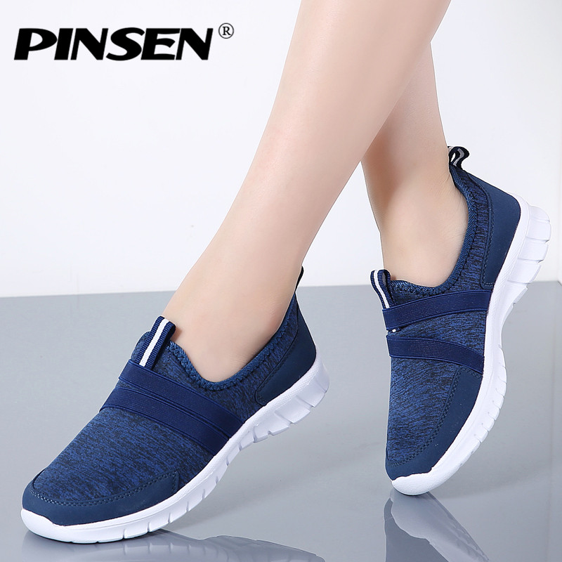 PINSEN 2018 Autumn Sneakers Women Breathable Mesh Shoes Woman Ballet Slip On Flats Loafers Ladies Shoes Creepers tenis feminino breathable loafers sweet bowtie platform shoes woman 2017 summer slip on ballet flats casual cut out creepers women sandals f05