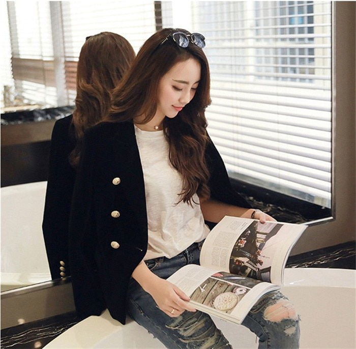 2016 New Spring Fashion Women Midnight Navy Slim Velvet Blazer Jacket Double Breasted simple Lady Blazers  (16)