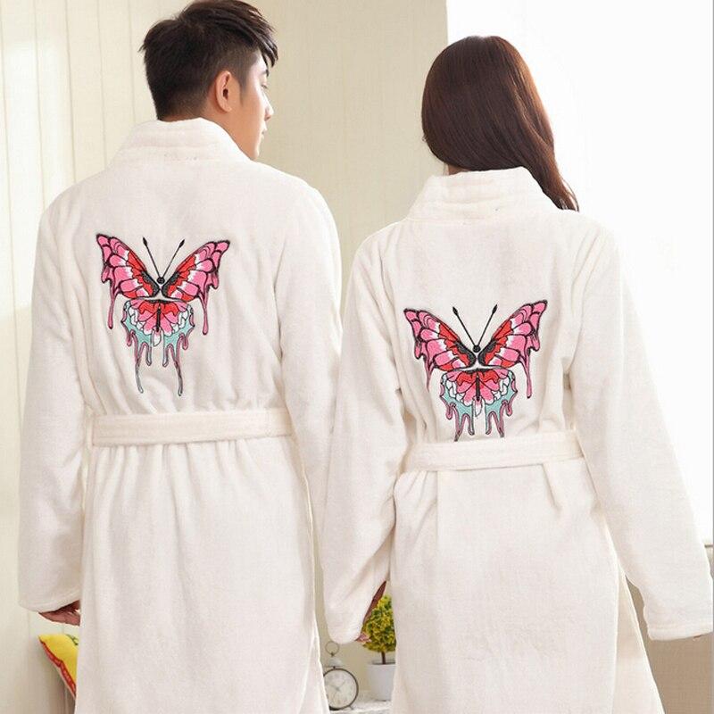 Winter Flannel Bathrobe Women Men Butterfly Embroidery Couple Bath ...