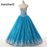 Vestidos De 15 Anos Beaded Blue Ball Gown Quinceanera Dresses 2017 Girl Quinceanera Dresses Sweet 16