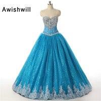 Vestidos de 15 Anos Beaded Blue Ball Gown Quinceanera Dresses 2020 Girl Quinceanera Dresses Sweet 16 Dresses Debutante Gown