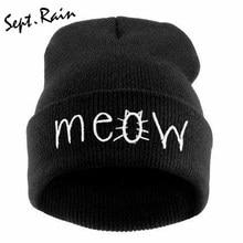 94950c2b3bcb4 Fashion MEOW Cap Men Casual Hip-Hop Hats Knitted Wool Skullies Beanie Hat  Warm Winter Hat for Women Free Shipping