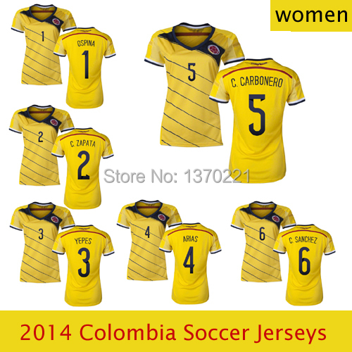 2014 World Cup Colombia national team home soccer jerseys women soccer  uniforms free ship futbol t-shirt YEPES FALCAO MONDRAGON 3960caebf
