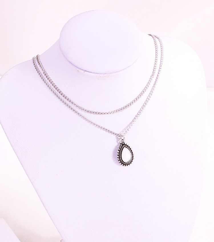 Nova cor prata pedra gota pingente colar de jóias da menina das mulheres do vintage Colar Gargantilha Colar Declaração Mulheres Jóias Bijoux
