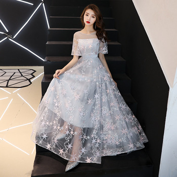 Gray Chinese Oriental Long Cheongsam Evening Dress Elegant Princess Dresses Modern Qipao Wedding Summer Women Sexy Embroidery
