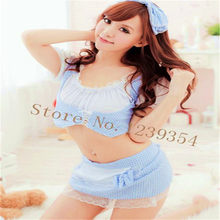 Sexy Costumes Apparel Accessories sexy lingerie women sex products Maid cosplay dress intimates Top + Apron + headwear + T pants(China)