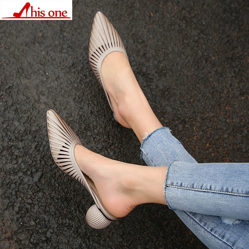 Fashion 4cm strange heel Summer Heel Narrow Band Design High Heel Sandals Fashion Women Chunky Shoes Point Toe Slippers Lady in Slippers from Shoes