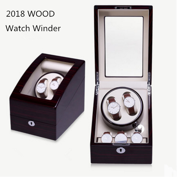 High Quanlity 5 Slots Black Wood Watch Winder Fashion Mechanical Self Mens Watch Winder New Watch Storage Boxes With Lock B099 new arrival black color carbon fibre wood watch winder german ultra quiet 5 modes watch winder