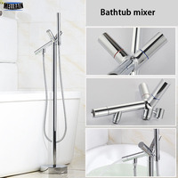 Floor Stand Mounted Bathroom Bathtub Mixer Faucet Brass Chromed Double Handles Bath Shower Tub Hot & Cold Water Mixer Tap