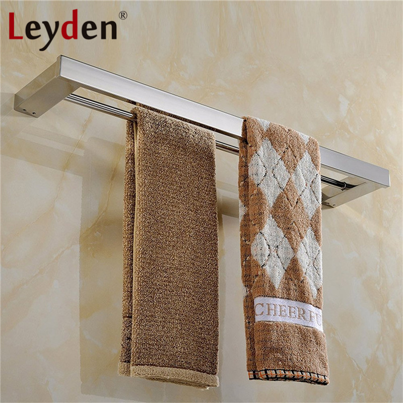 Leyden Wall Mounted Stainless Steel Towel Holder Polished Chrome Double Modern Towel Rail Square Towel Bar Bathroom Accessories stainless steel square towel ring chrome finishing flg8902