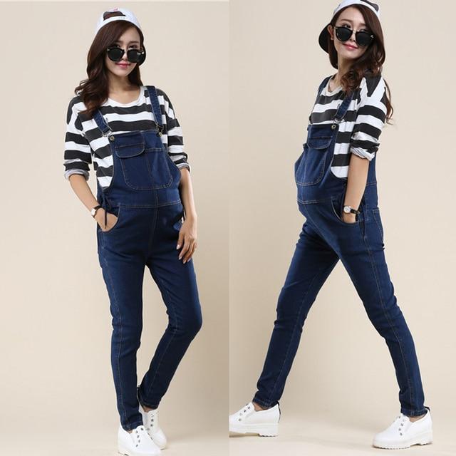 f4e9478d6 Overoles de mezclilla para las mujeres embarazadas embarazo maternidad  Jeans overoles pantalones de Denim mono pantalones