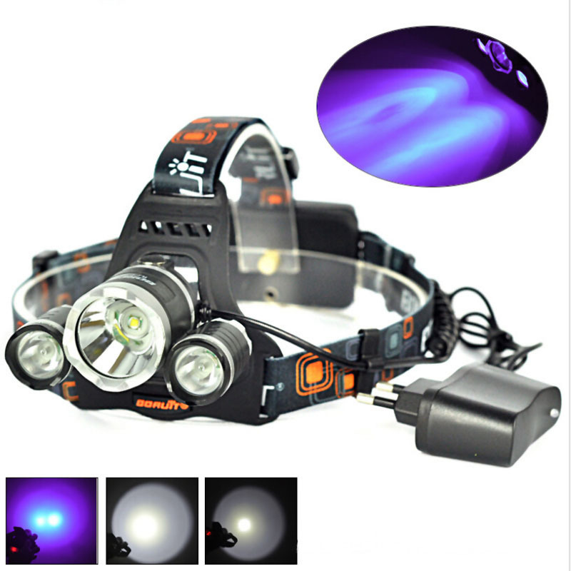 BORUIT RJ-3000 1xCREE XML T6+2xCREE XPE R2 Violet Light 3-Mode USB Rechargeable LED Headlamp (2x18650) singfire sf 645z zooming white blue 3 mode 350lm headlamp w 2 x cree xpe r2 2 x 18650