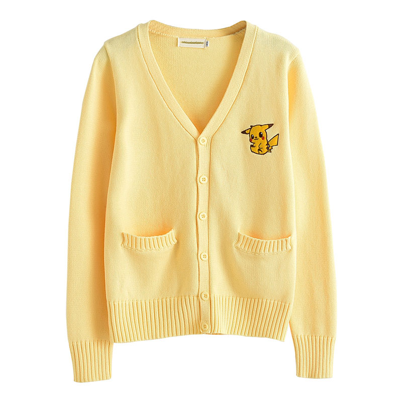 Online Shop Japanese JK Knit cardigan sweater Loose Cute yellow ...